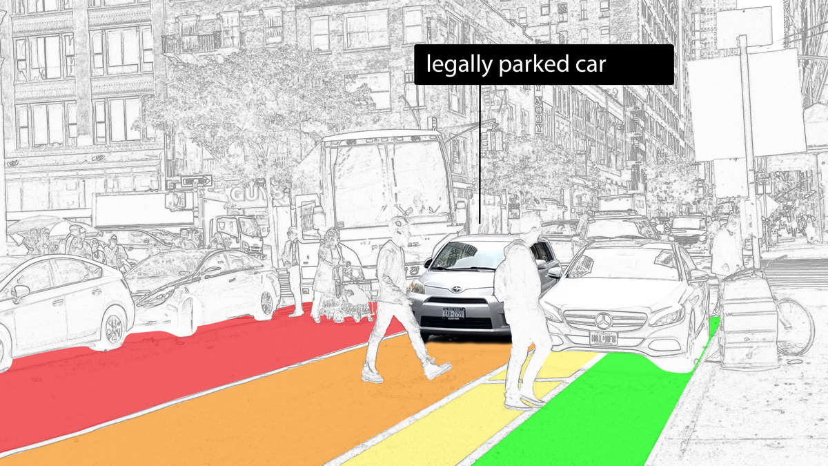 Legally parked car blocks turning radius